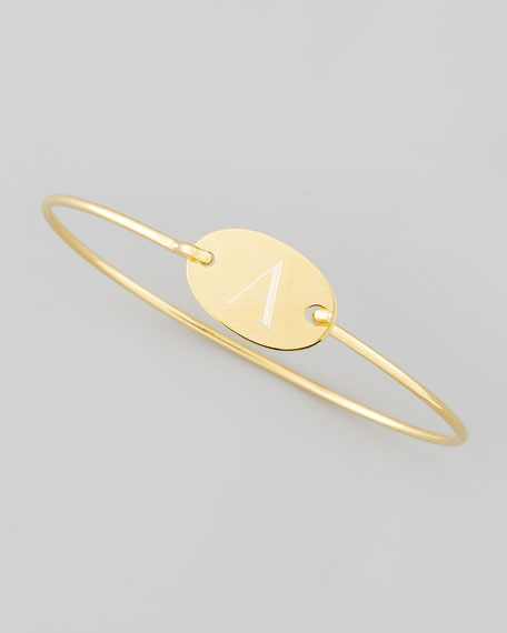 Letter-Engraved Oval Bracelet, Gold