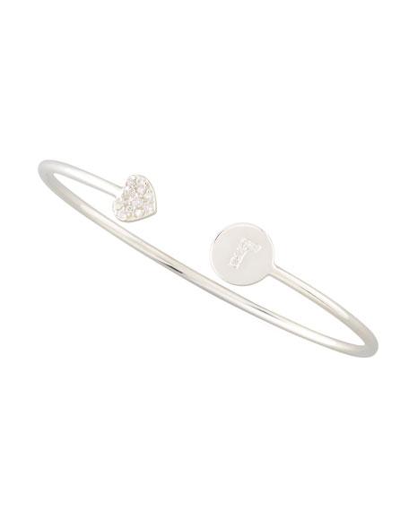 Diamond-Heart & Pave Diamond Initial Bracelet