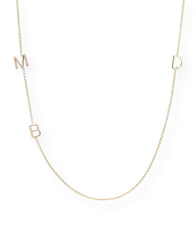 Mini 3-Letter Personalized Necklace  14k Yellow Gold