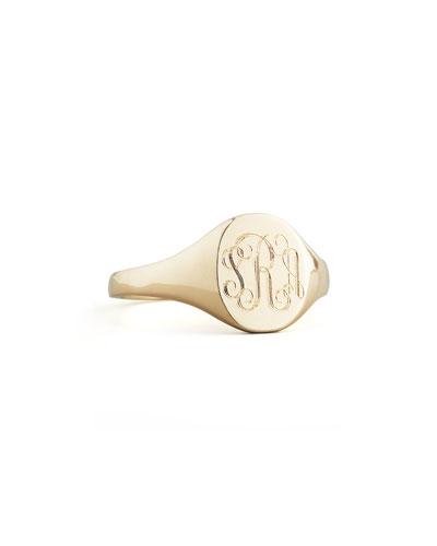 Gold Lana Monogrammed Oval Signet Ring