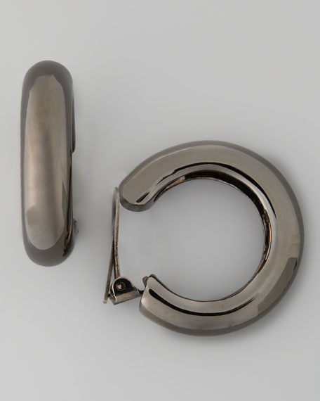 Thick Gunmetal Hoop Clip Earrings