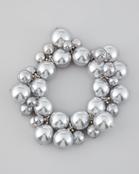 Simulated Pearl Cluster Bracelet, Silver