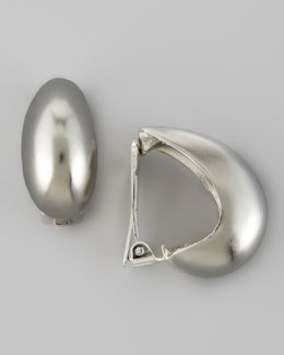 Kenneth Jay Lane Silvertone Tapered Hoop Clip-On Earrings