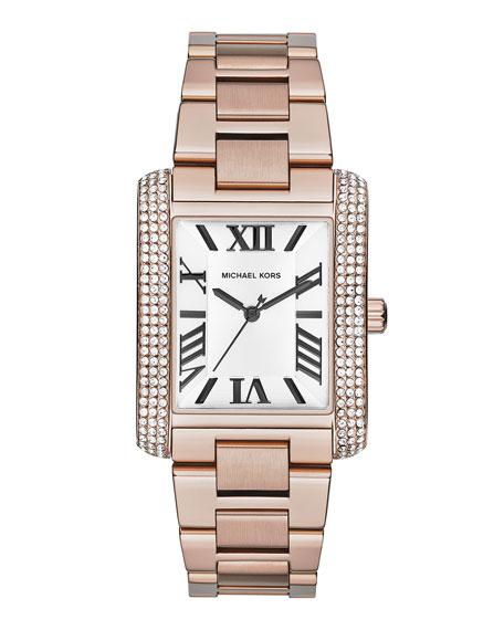 Mid-Size Rose Golden Stainless Steel Emery Three-Hand Glitz Watch