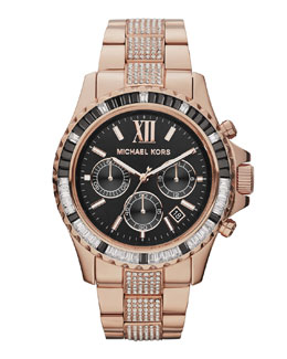 Michael Kors  Mid-Size Rose Golden Stainless Steel Everest Chronograph Glitz Watch