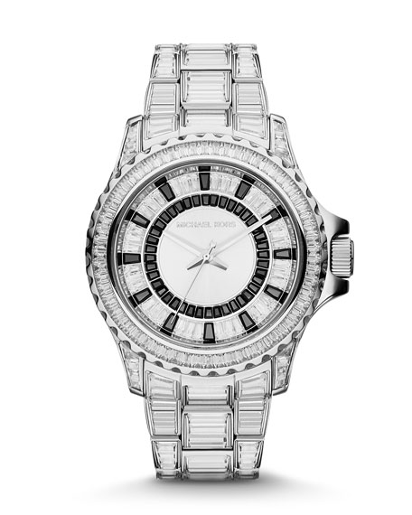 Mid-Size Gray Stainless Steel Glam Everest Three-Hand Glitz Watch