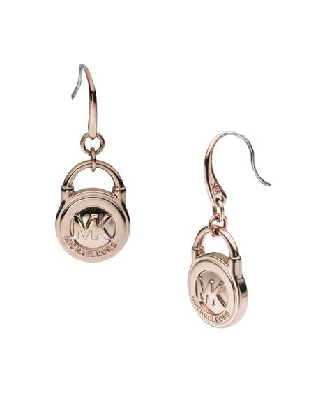 Lock Drop Earrings, Rose Golden