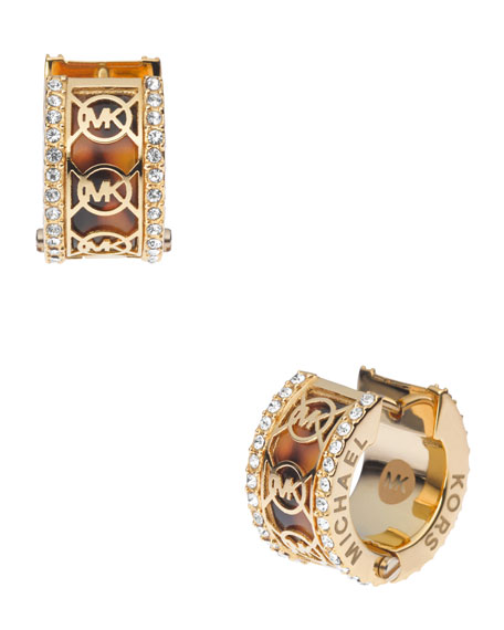 Monogram Pave Huggie Earrings, Golden/Tortoise