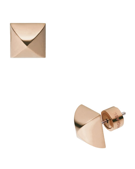 Pyramid-Stud Earrings, Rose Golden