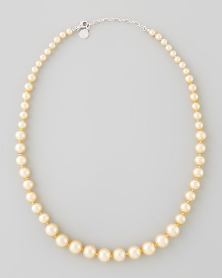 Graduated Simulated Pearl Necklace, Champagne