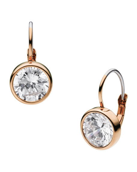 Crystallized Lever Earrings, Rose Golden