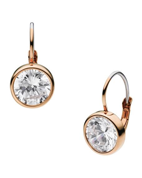 Crystallized Lever Earrings, Rose Golden