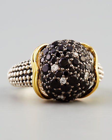 Nightfall Sterling Silver/18k Black Spinel Sphere Ring