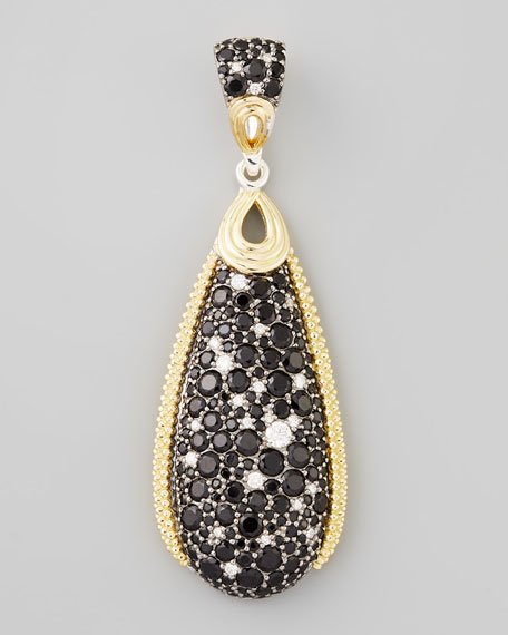 Nightfall Silver/18k Spinel Teardrop Pendant, 54 x 18mm