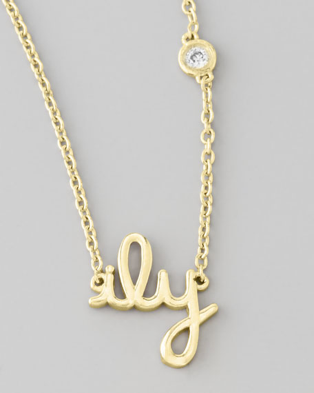 ILY Pendant Bezel Diamond Necklace