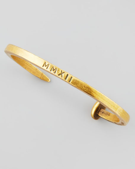 Engraved Skinny Railroad Spike Bracelet, Brassy