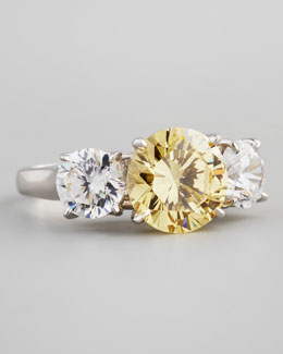 Fantasia by DeSerio Triple-Stone Cubic Zirconia Ring, Canary/Clear