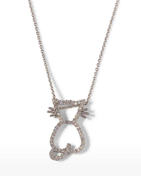 Roberto Coin Pave Diamond Cat Pendant Necklace