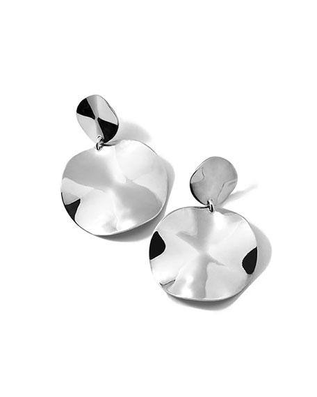 Small Wavy Disc Modern Snowman Clip-On Earrings