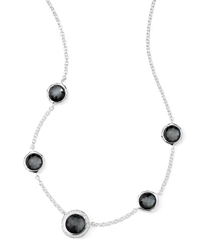 Stella Necklace in Hematite Doublet & Diamonds 16-18