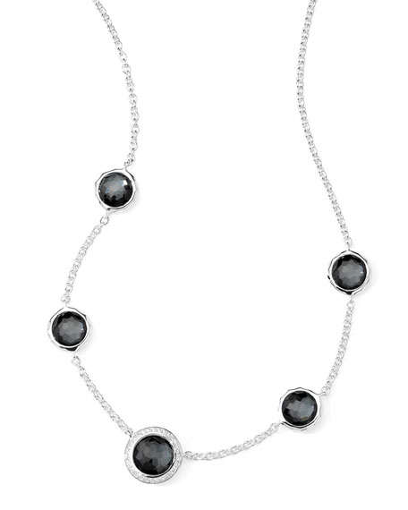 Ippolita Stella Necklace in Hematite Doublet & Diamonds