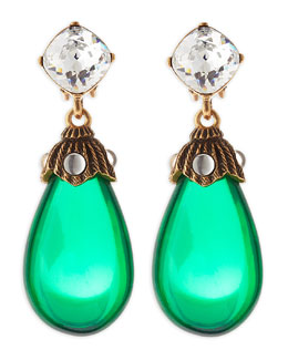Oscar de la Renta Crystal Resin Drop Clip-On Earrings, Kelly Green