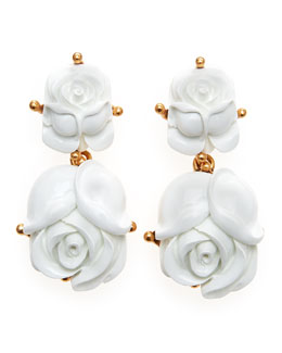 Oscar de la Renta Resin Rose Clip Earrings