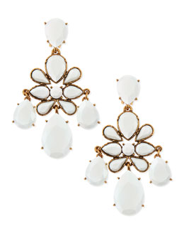 Oscar de la Renta Faceted Chandelier Clip-On Earrings, White