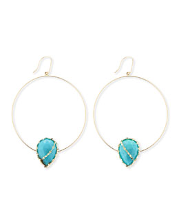 Lana 14k Gold Turquoise-Station Hoop Earrings