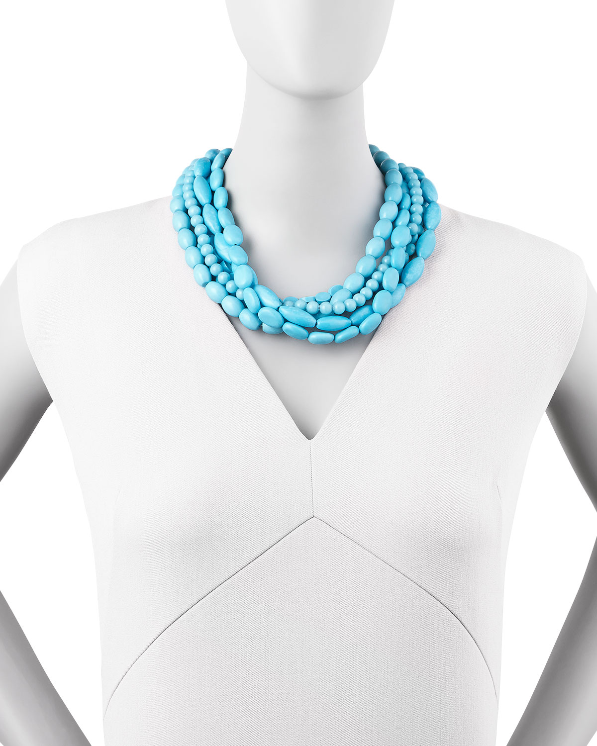 Moon & Lola Multi-Strand Turquoise Magnesite Necklace AxDtj7