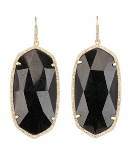 Kendra Scott Luxe Large Pave-Trim Black Tourmaline Drop Earrings