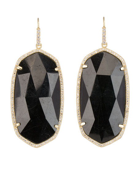 Large Pave-Trim Black Tourmaline Drop Earrings