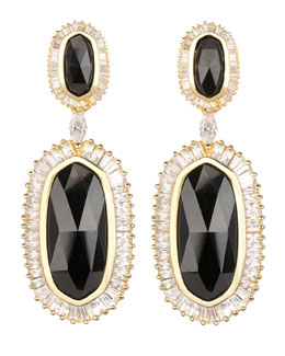 Kendra Scott Luxe Baguette-Trim Oval Drop Earrings, Black