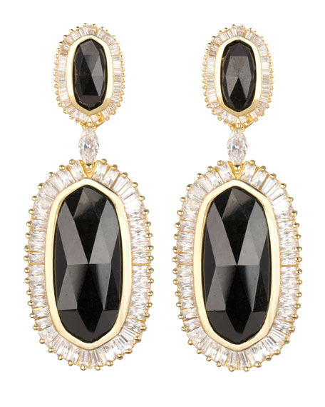 Baguette-Trim Oval Drop Earrings, Black