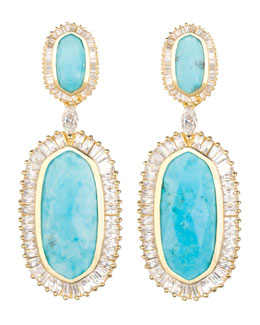 Kendra Scott Luxe Baguette-Trim Oval Drop Earrings, Turquoise