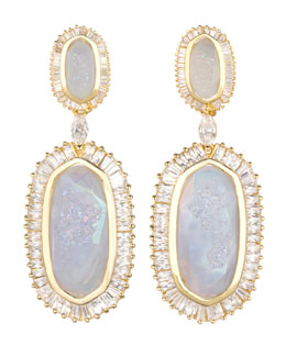 Kendra Scott Luxe Baguette-Trim Oval Druzy Drop Earrings