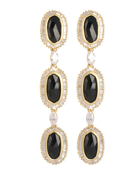 Long Baguette-Trim 3-Oval Drop Earrings, Black