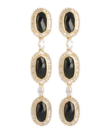 Long Baguette-Trim 3-Oval Drop Earrings, Black