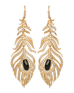 Kendra Scott Luxe Pave Linear Feather Earrings, Black