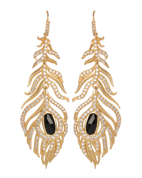 Pave Linear Feather Earrings, Black