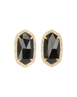 Kendra Scott Luxe Pave-Trim Black Tourmaline Stud Earrings