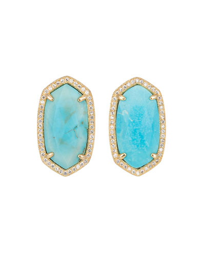 Pave-Trim Stud Earrings, Turquoise