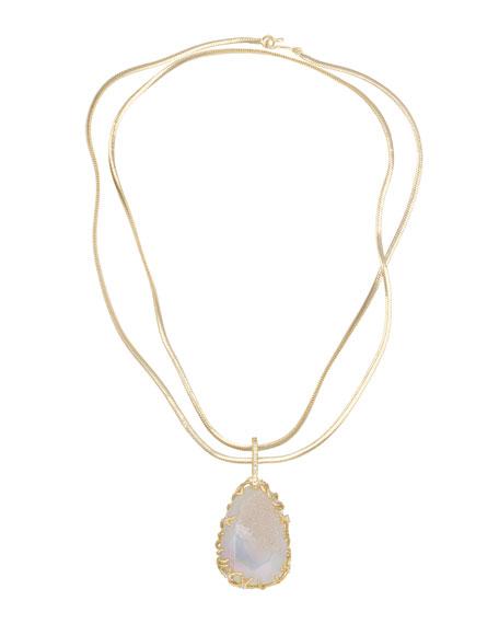 Branch-Bezel Druzy Pendant Necklace