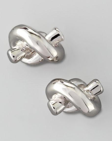 sailor's knot stud earrings, silver