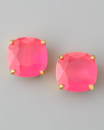 Small Square Stud Earrings, Fluorescent Pink