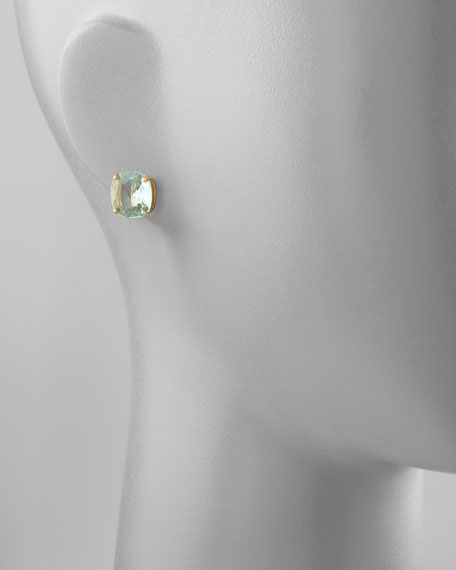 small square stud earrings, blue