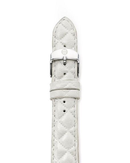 16mm Quilted Leather Watch Strap, White