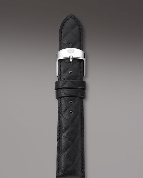 18mm Quilted Leather Watch Strap, Black