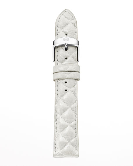 MICHELE 20mm Quilted Leather Watch Strap, White