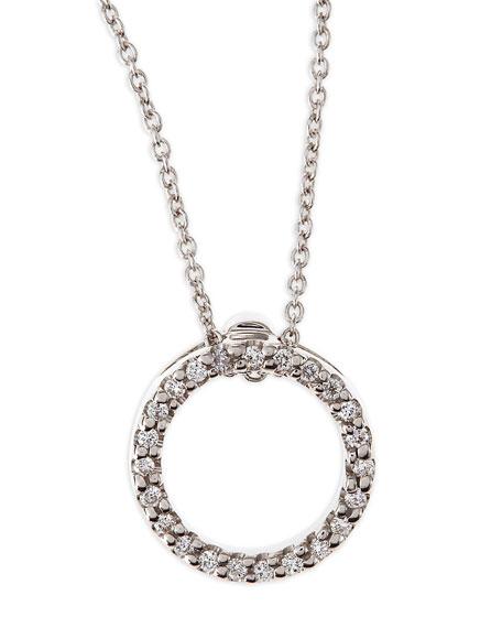 Roberto Coin 18k White XS Diamond Circle Pendant
